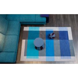 Tapis tufté main gris et bleu Intersection Arte Espina