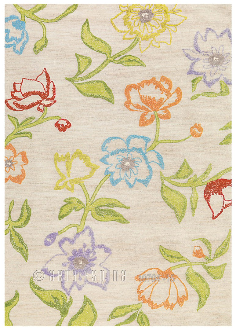 Tapis bambou et acrylique beige Bloom Arte Espina