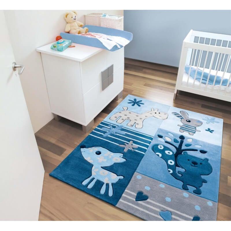 Tapis bleu pour chambre de b b tipoo kids arte espina for Tapis chambre enfant