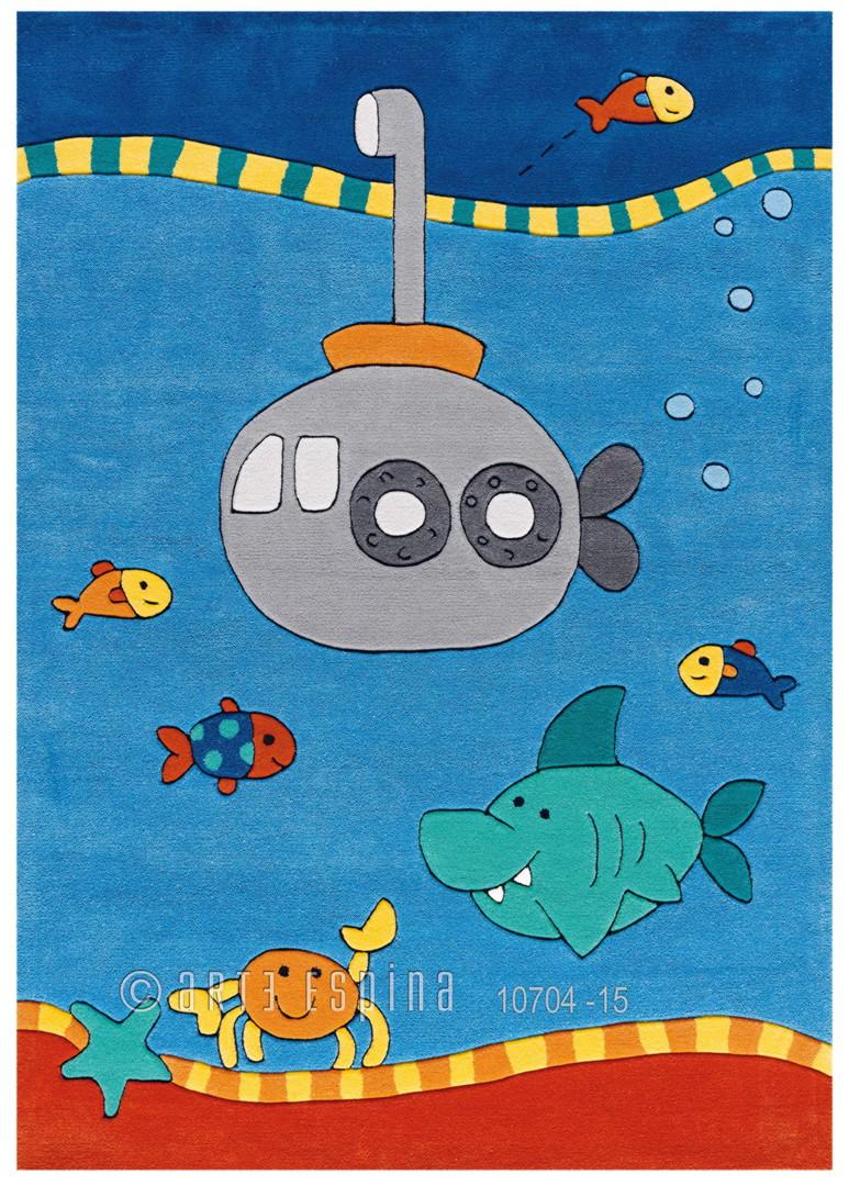 Tapis pour chambre de garçon bleu Submarine Kids Arte Espina