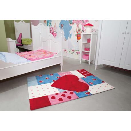 Tapis pour chambre de fille rouge heart kids arte espina - Tapis pour chambre de fille ...