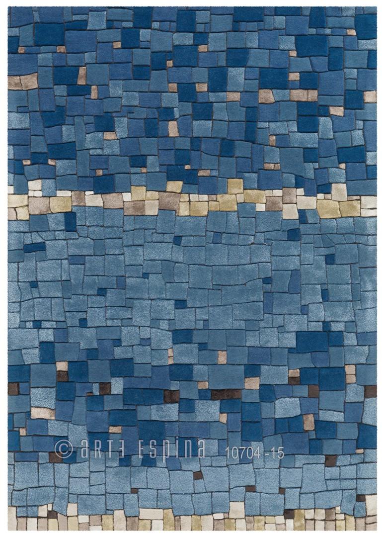 Tapis en laine de Nouvelle-Zélande bleu Mosaic Arte Espina