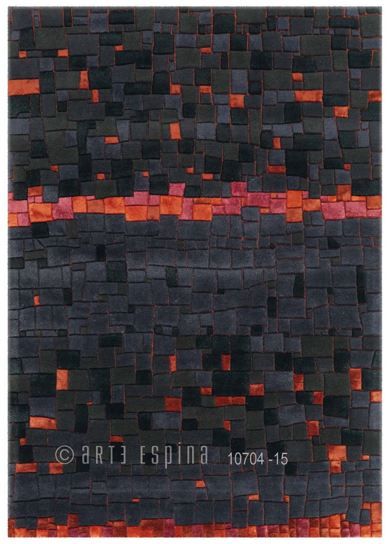 Tapis en laine de Nouvelle-Zélande anthracite Mosaic Arte Espina