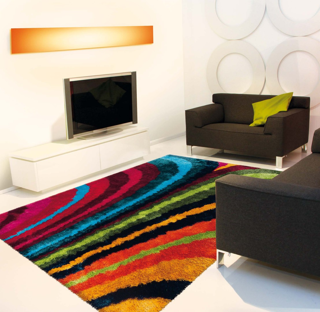 Tapis shaggy en polyester doux multicolore funky arte espina - Tapis shaggy multicolore ...