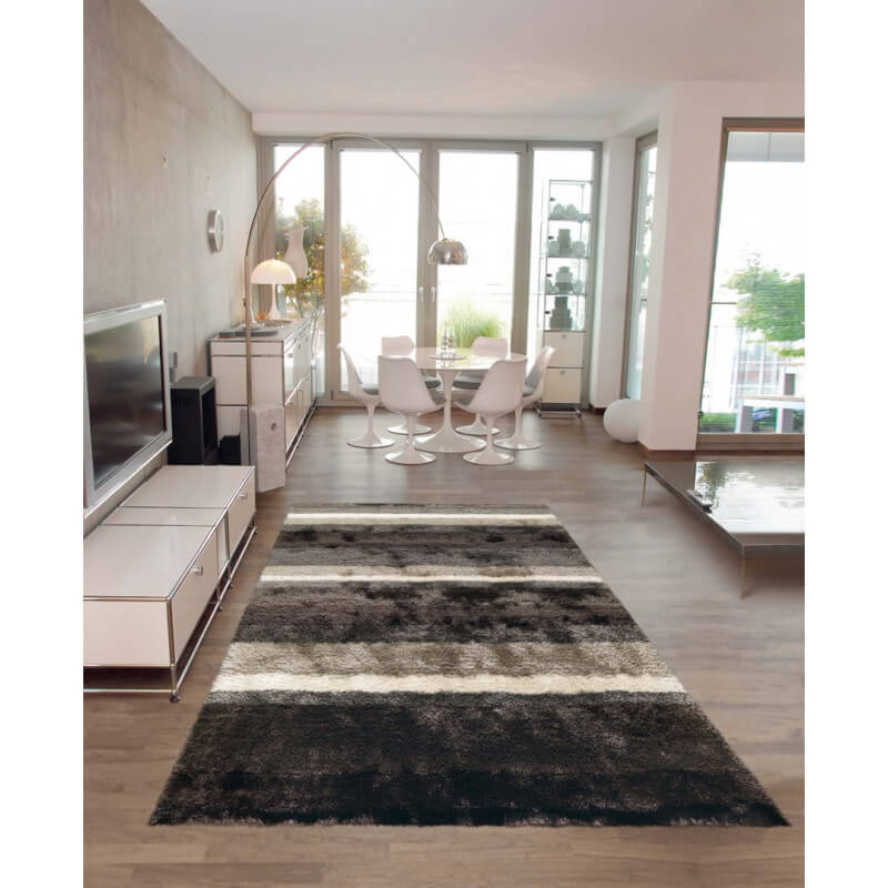 tapis de salon shaggy gris et blanc funky arte espina. Black Bedroom Furniture Sets. Home Design Ideas