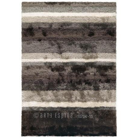 Tapis de salon shaggy gris et blanc Funky Arte Espina