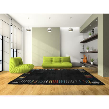 tapis longues m ches noir d 39 int rieur milton. Black Bedroom Furniture Sets. Home Design Ideas