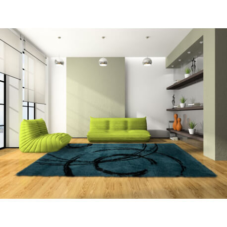 Tapis shaggy turquoise pour salon sidy - Tapis shaggy turquoise ...