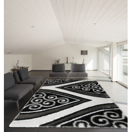 Tapis shaggy argenté brillant pour salon Party