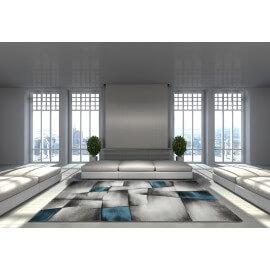 Tapis avec effet 3D vintage bleu pour salon Crystal
