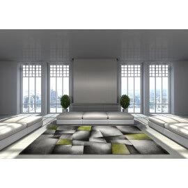 Tapis avec effet 3D vintage vert pour salon Crystal