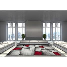Tapis avec effet 3D vintage rouge pour salon Crystal