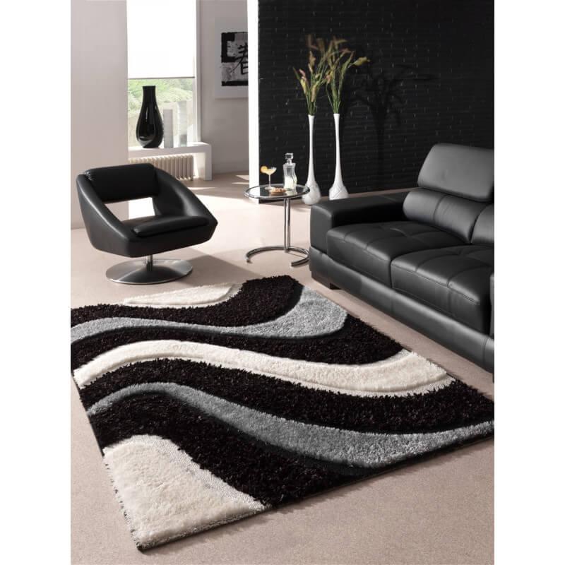 tapis design en polyester shaggy noir jude. Black Bedroom Furniture Sets. Home Design Ideas