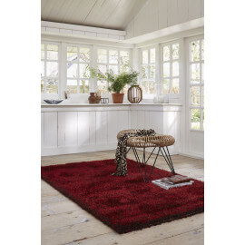 Tapis shaggy en polyester rouge Cosy Glamour Esprit Home