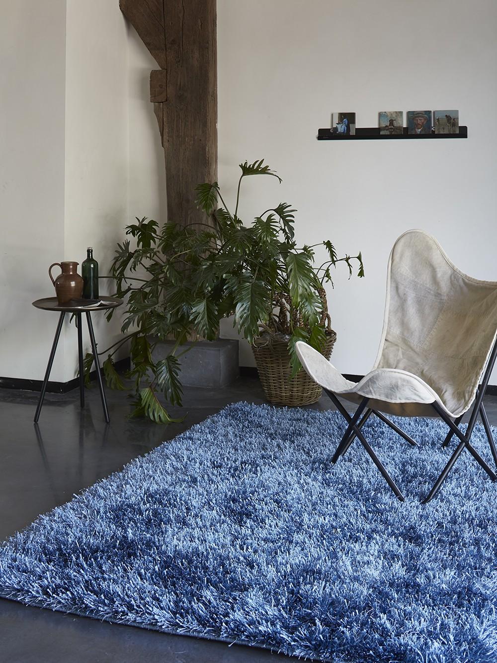 tapis shaggy bleu cool glamour ii par esprit home. Black Bedroom Furniture Sets. Home Design Ideas