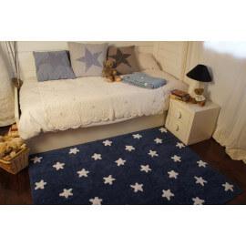 Tapis pour bébé bleu marine lavable en machine Stars White Lorena Canals