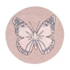 Tapis rond pour chambre de fille rose réversible Butterfly Lorena Canals