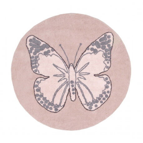 Tapis Rond Pour Chambre De Fille Rose Butterfly Lorena Canals