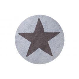 Tapis rond réversible bleu en coton pour enfant Round Star Lorena Canals