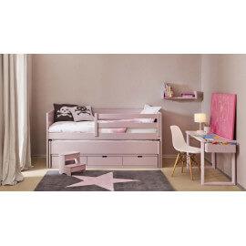 Tapis en laine pour chambre enfant Wool Star gris et rose Lorena Canals