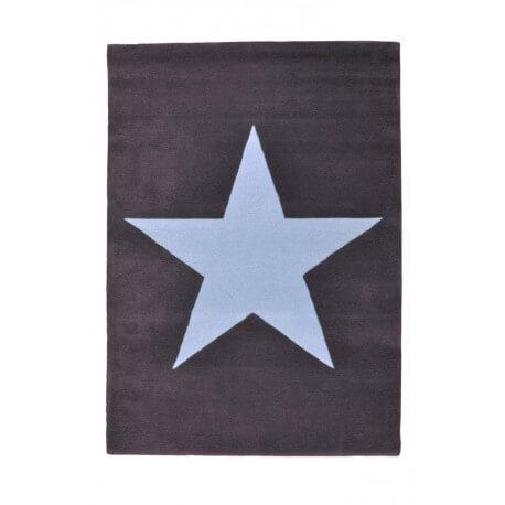 Tapis en laine pour chambre enfant Wool Star gris et bleu Lorena Canals