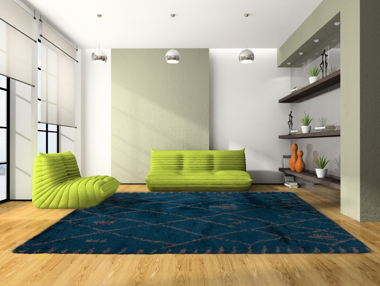 Tapis doux design bleu altidor Tapis salon bleu turquoise
