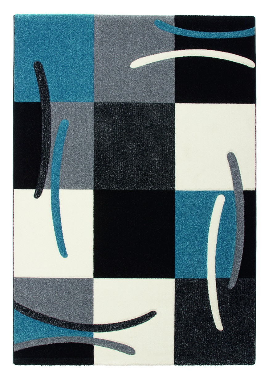 Tapis design pour salon bleu Sweet