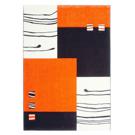 Tapis design rectangulaire noir et orange Dream