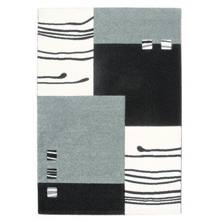Tapis design rectangulaire noir et argenté Dream