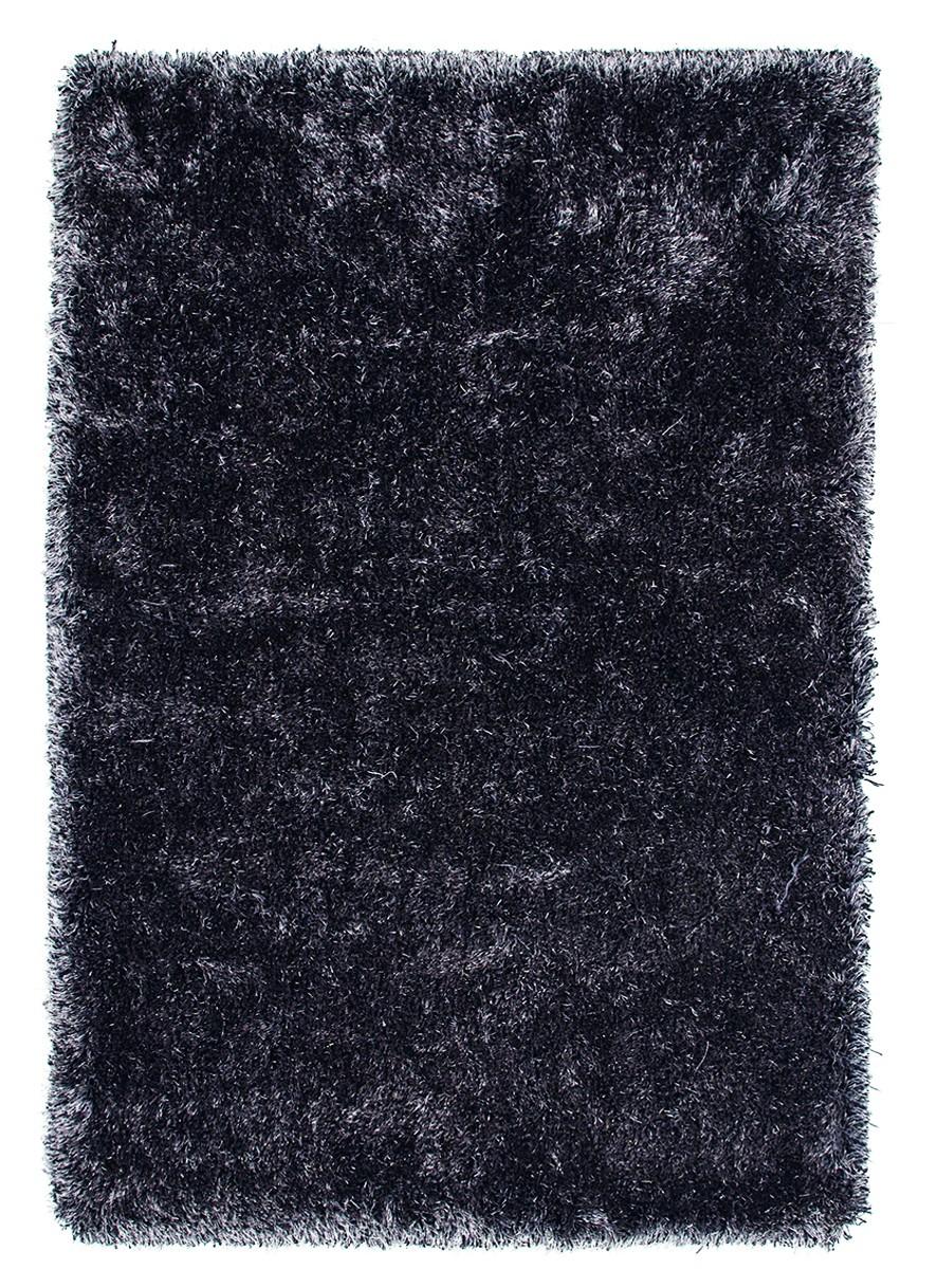 Tapis à longues mèches brillant en polyester anthracite Bahamas