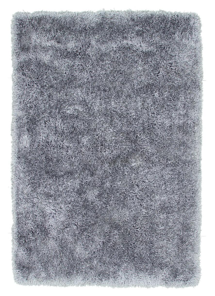 Tapis à longues mèches brillant en polyester argenté Bahamas