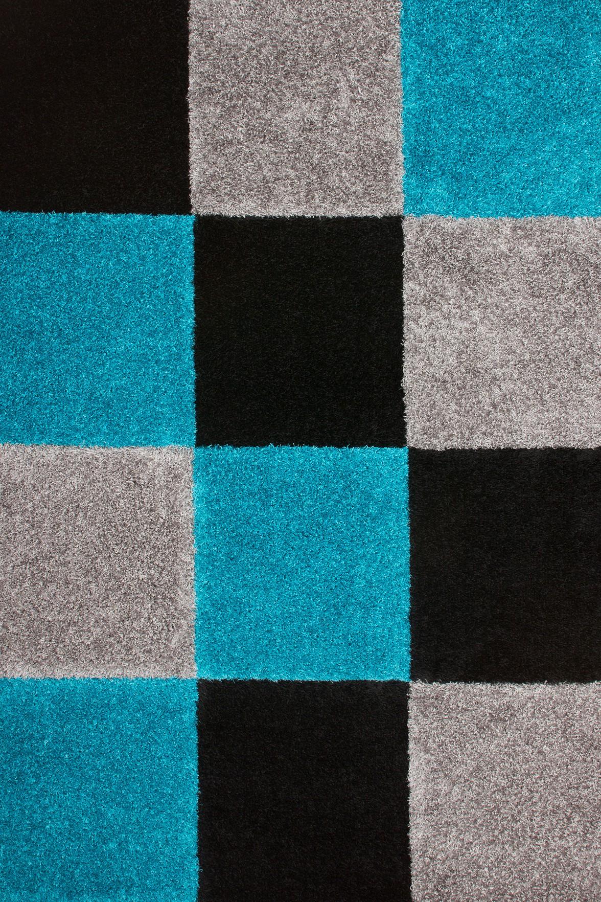 Tapis d'intérieur moderne noir et bleu Kentucky