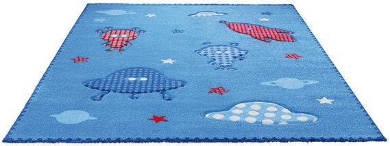 Tapis pour enfant tissé bleu Little Astronauts Esprit Home