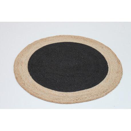 Tapis rond tissé main plat en coton beige et noir Circle