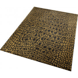 Tapis de salon en polyester marron Croco