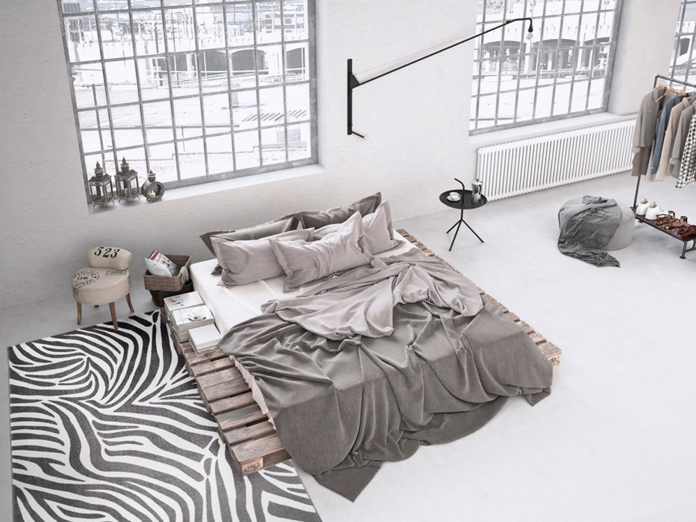 Tapis gris tuft m canique pour chambre zebra - Tapis chambre gris ...