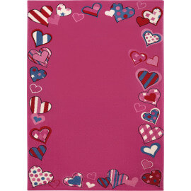 Tapis de chambre enfant rose Just Hearts