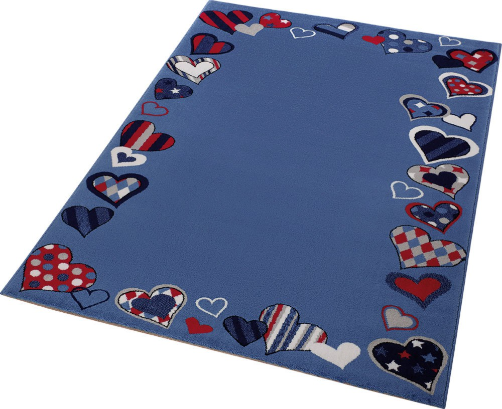 tapis de chambre enfant bleu just hearts. Black Bedroom Furniture Sets. Home Design Ideas