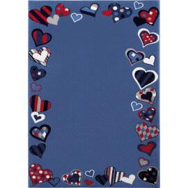 Tapis de chambre enfant bleu Just Hearts