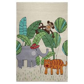 Tapis à courtes mèches en acrylique beige Jungle Friends