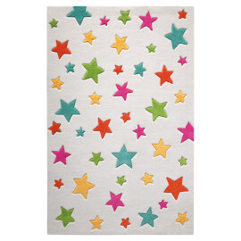 Tapis Smart Kids tufté main blanc Simple Stars