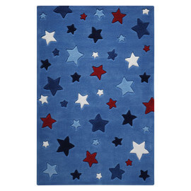 Tapis Smart Kids tufté main bleu Simple Stars
