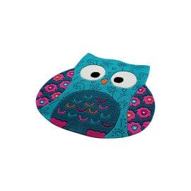 Tapis hibou turquoise en acrylique Littel Owl