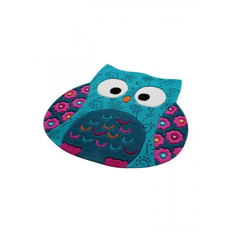 Tapis hibou turquoise en acrylique littel owl - Tapis turquoise enfant ...