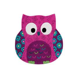 Tapis hibou rose en acrylique Littel Owl