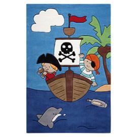 Tapis pour garçon en acrylique bleu tufté main Pirate Kids