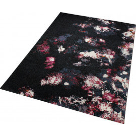 Tapis floral noir pour salon Nocturnal Flowers Esprit Home