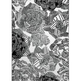 Tapis moderne floral noir et blanc Rosia Esprit Home
