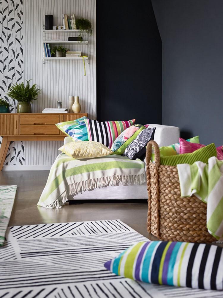 tapis g om trique noir et blanc graphics esprit home. Black Bedroom Furniture Sets. Home Design Ideas