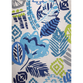 Tapis floral bleu tufté main Tara Esprit Home